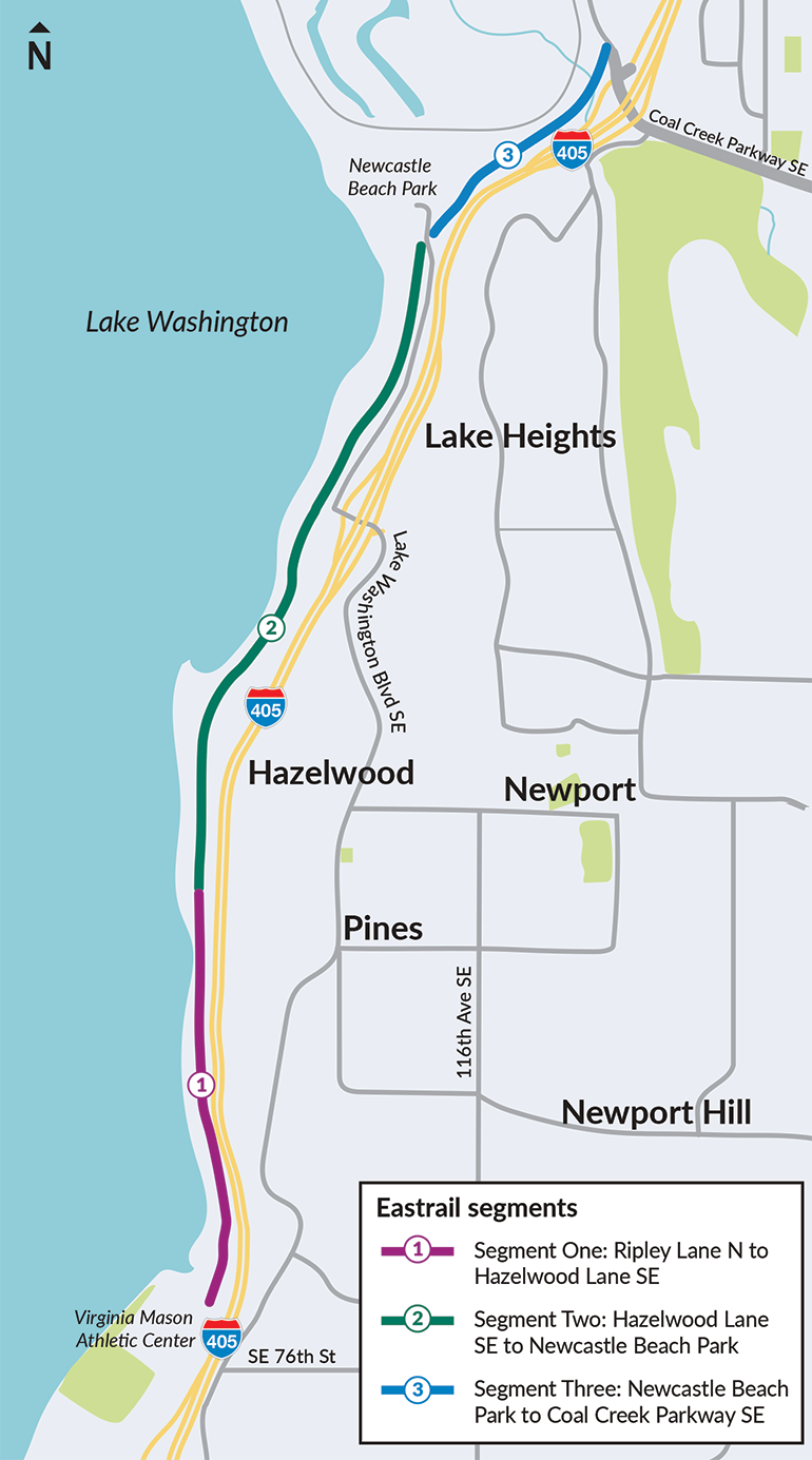 Map showing trail segments 1, 2 and 3 spanning from Renton to Bellevue along Interstate 405.